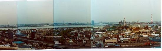 出来島から西淀川と淀川、此花区を望む